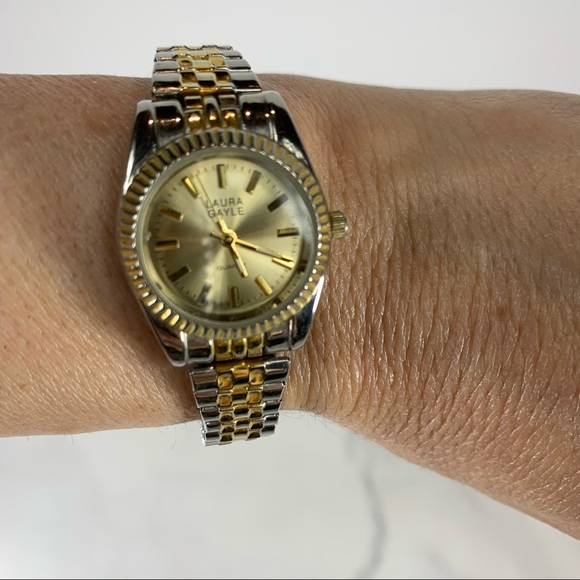 Laura Gayle Vintage Silver Gold Stretch Watch